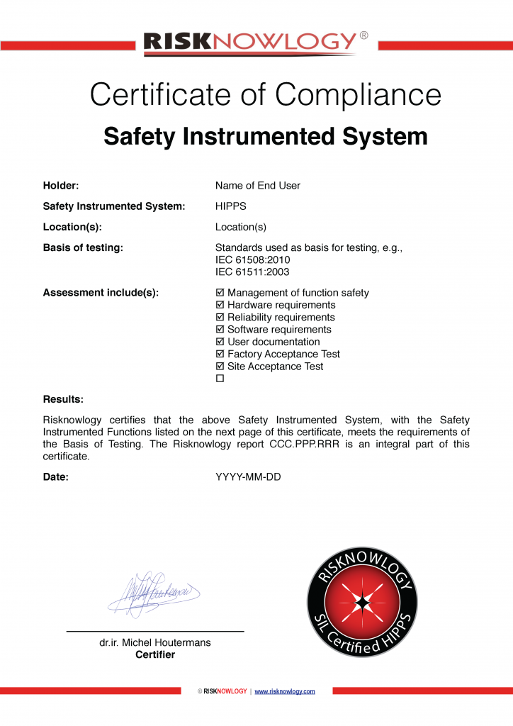 Risknowlogy Sample HIPPS Certificate