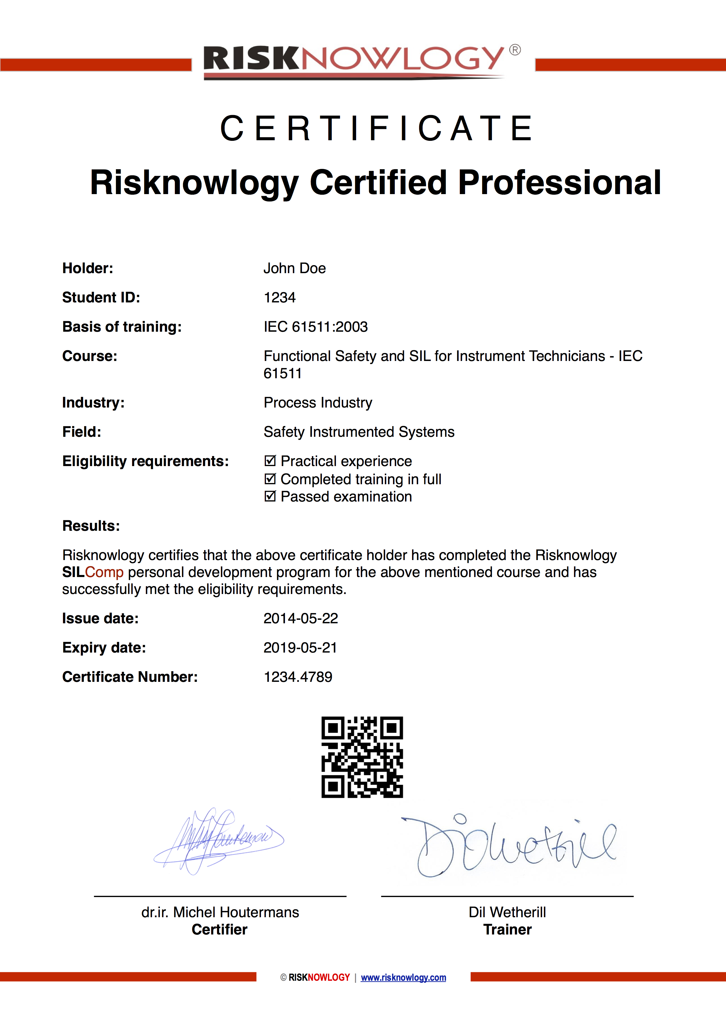 Certificate SIL for Instrument Technicians