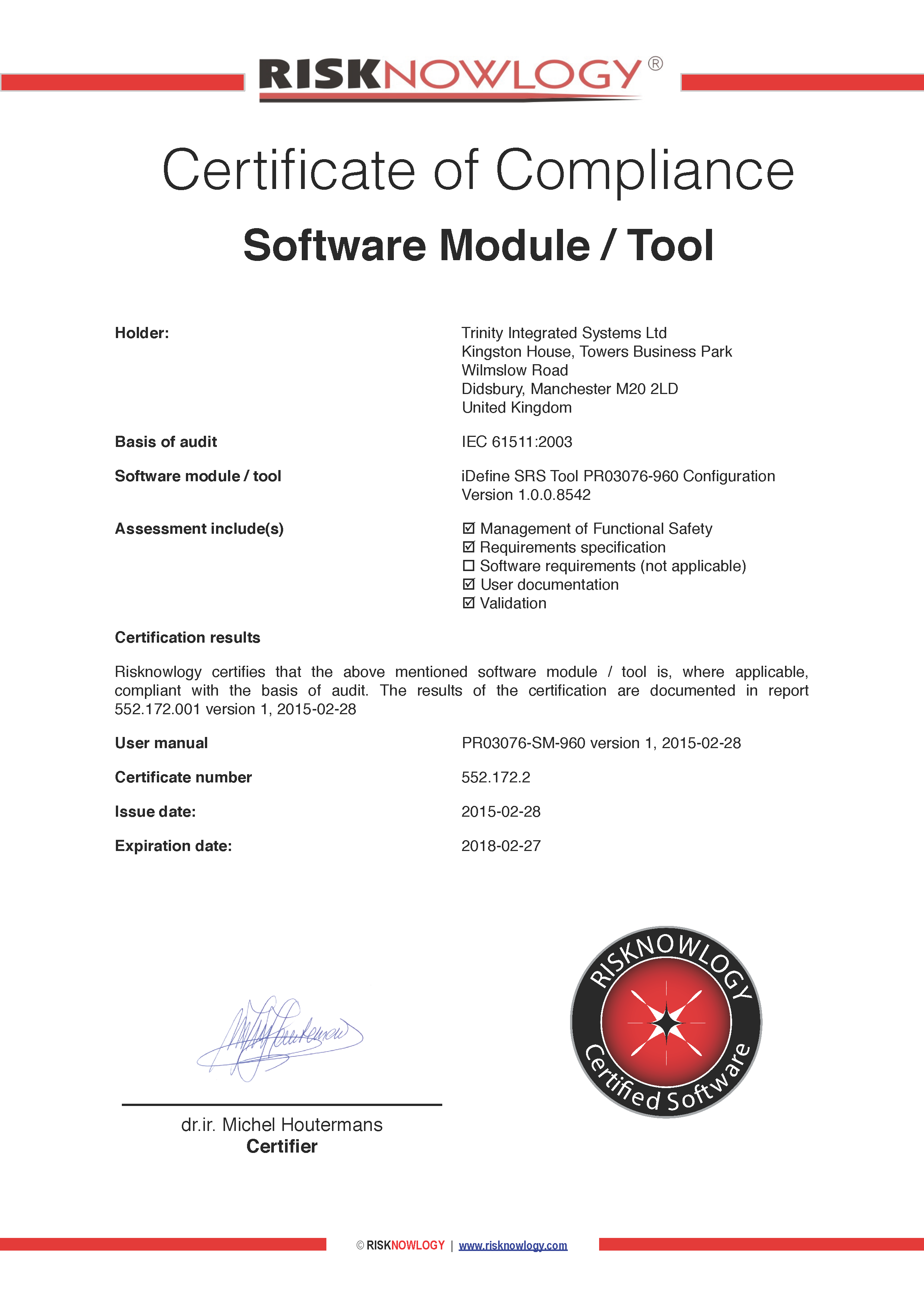 Trinity idefine srs tool risknowlogy srs tool certificate 1betcityfo Choice Image