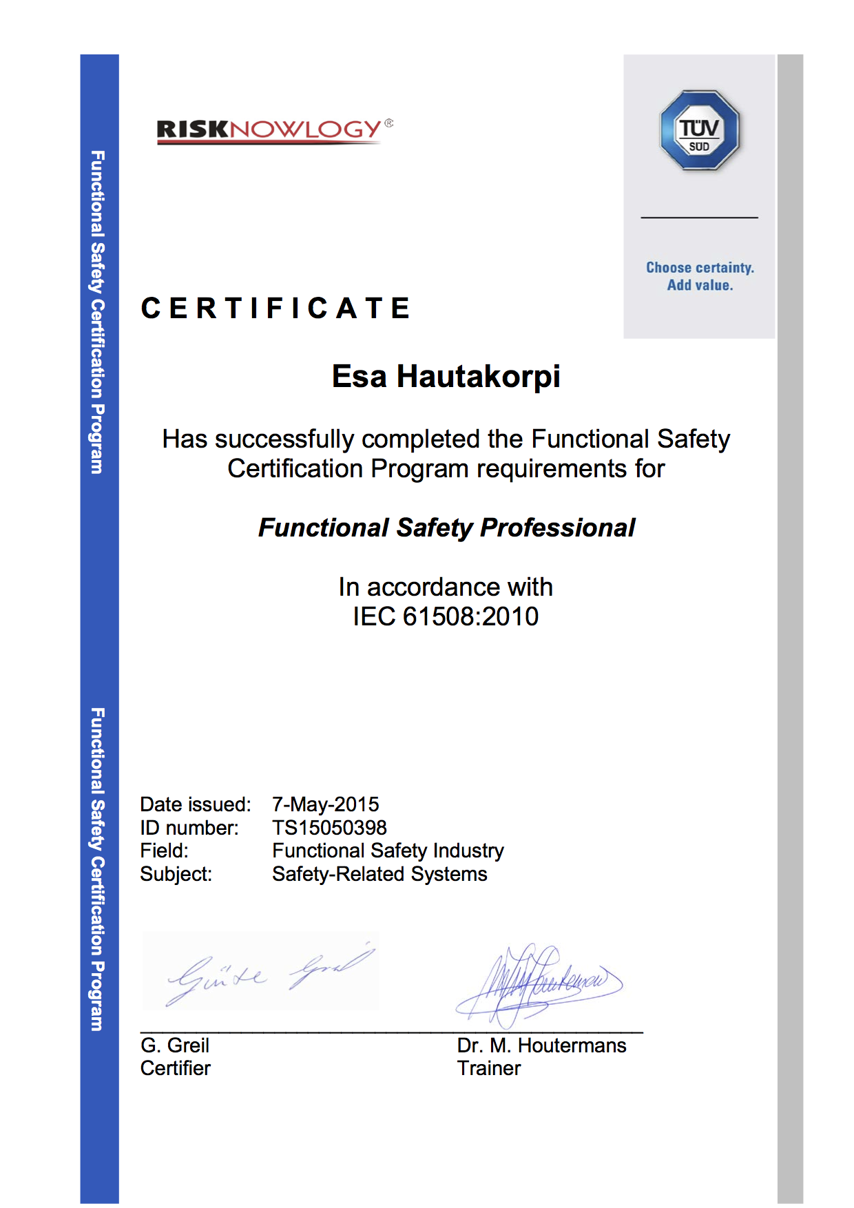 Safety Passport Of Esa Hautakorpi Risknowlogy