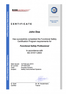 Sample Certificate TUV Functional Safety Course Paris IEC 61511 June