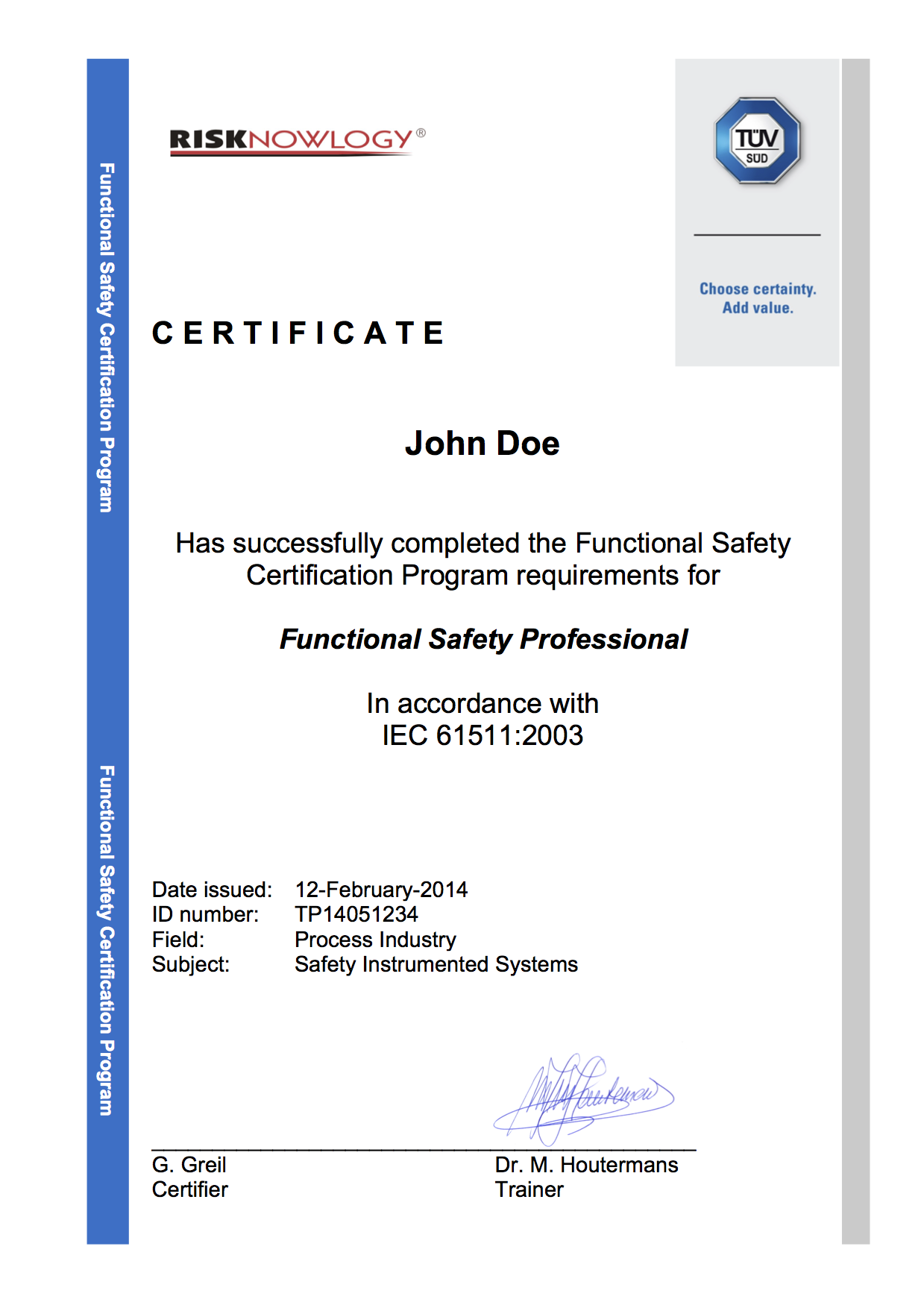 Risknowlogy tuv iec 61511 functional safety training pembroke sample certificate tuv functional safety course stavanger iec 61511 june xflitez Images