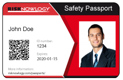 Risknowlogy Safety Passport ID Card John Doe Front