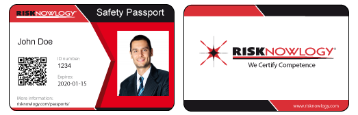 Risknowlogy Safety Passport ID Card John Doe Front and Back