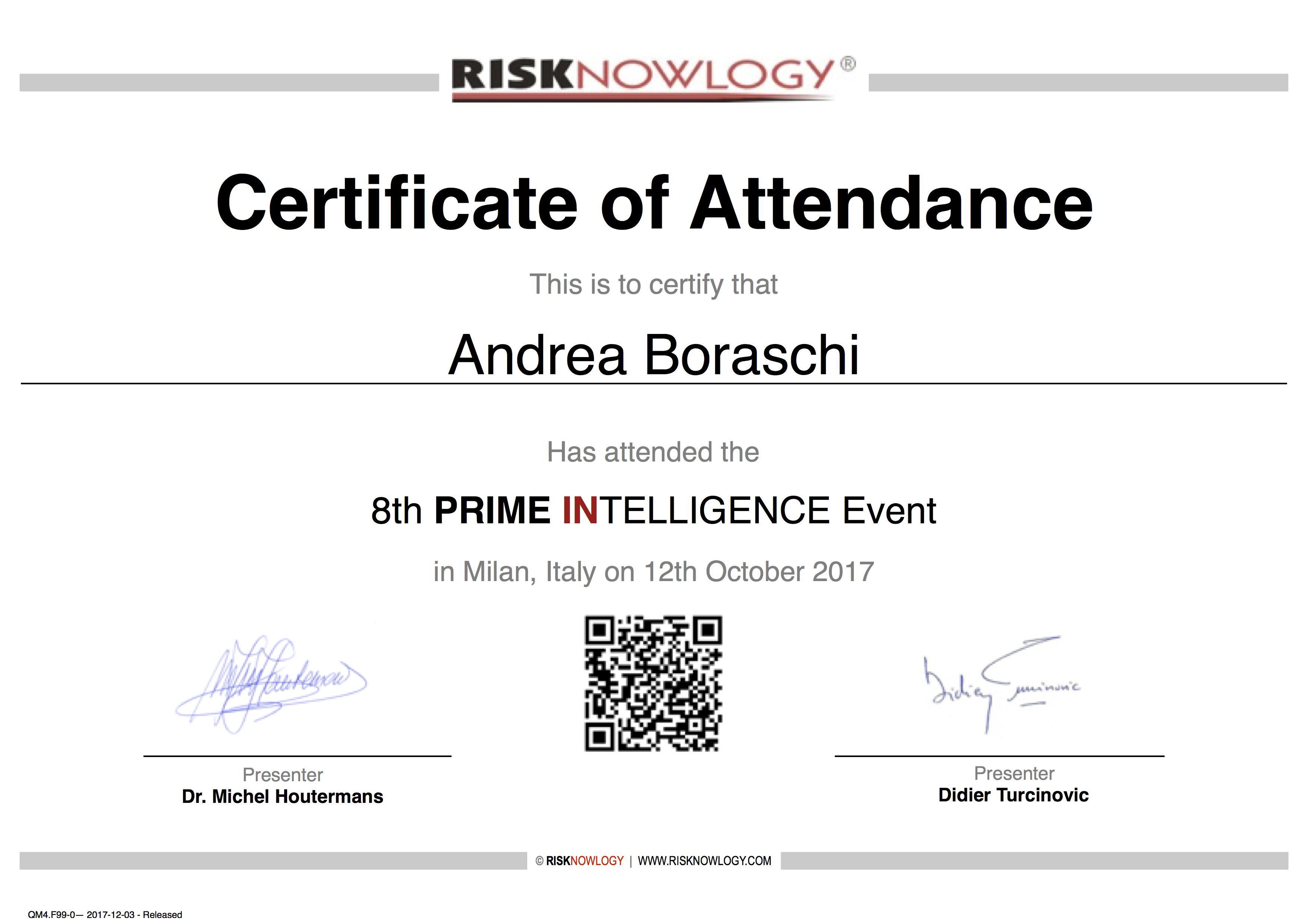 Safety Passport Of Andrea Boraschi