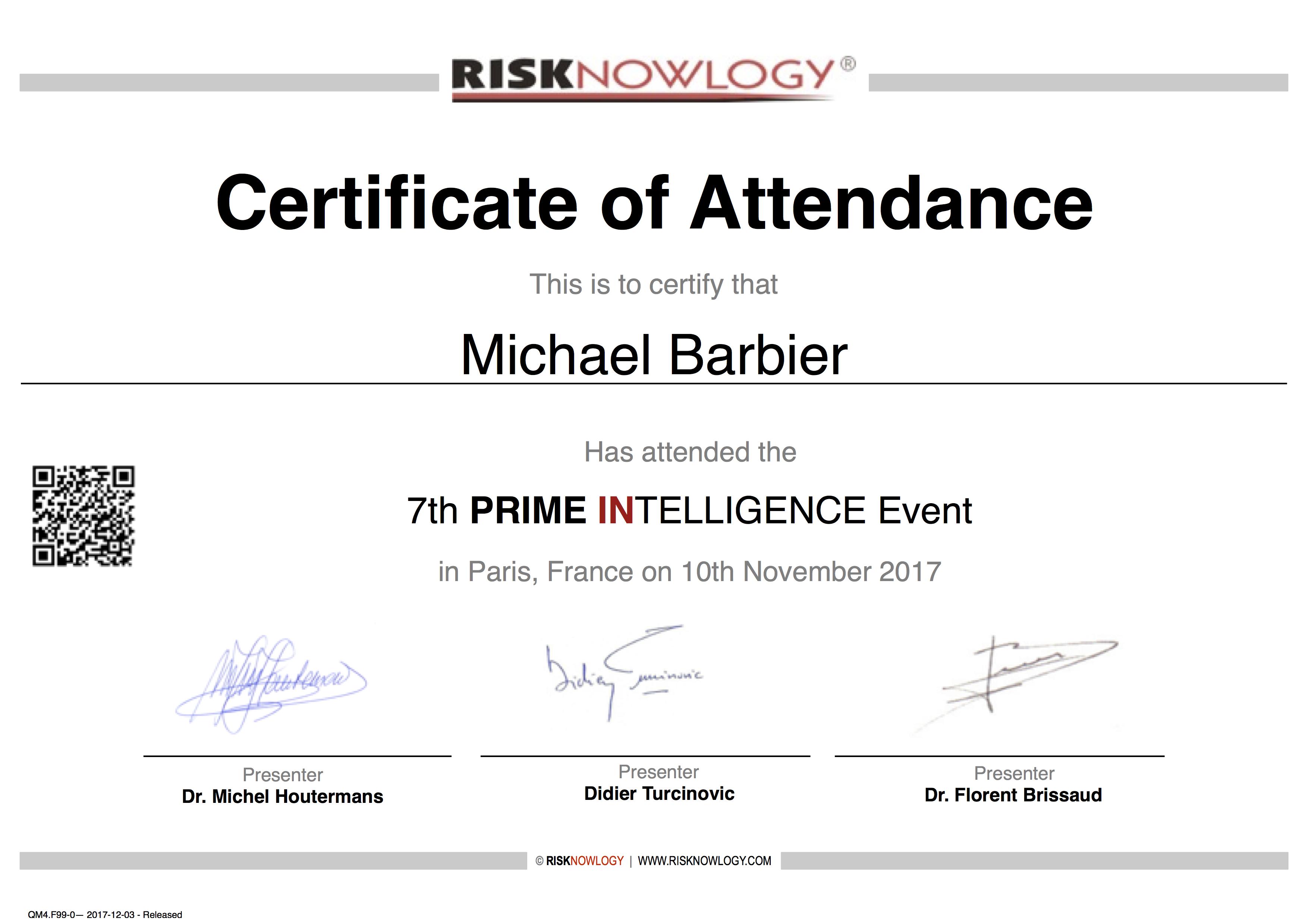 Safety Passport Of Michael Barbier